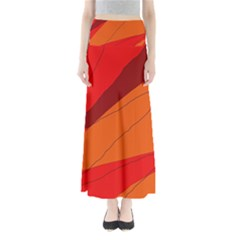 Red and orange decorative abstraction Maxi Skirts