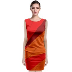 Red And Orange Decorative Abstraction Classic Sleeveless Midi Dress