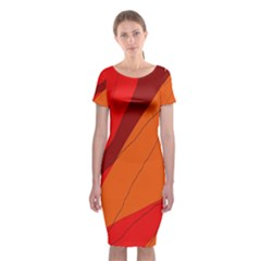 Red and orange decorative abstraction Classic Short Sleeve Midi Dress
