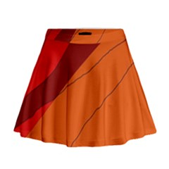 Red and orange decorative abstraction Mini Flare Skirt