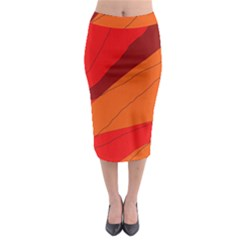 Red and orange decorative abstraction Midi Pencil Skirt