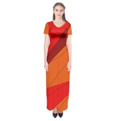 Red And Orange Decorative Abstraction Short Sleeve Maxi Dress