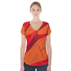 Red and orange decorative abstraction Short Sleeve Front Detail Top