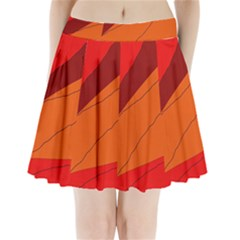Red and orange decorative abstraction Pleated Mini Mesh Skirt(P209)