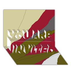 Decoratve abstraction YOU ARE INVITED 3D Greeting Card (7x5)