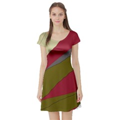 Decoratve abstraction Short Sleeve Skater Dress