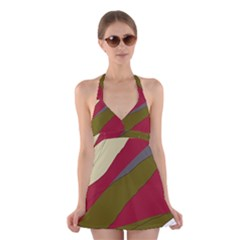 Decoratve Abstraction Halter Swimsuit Dress