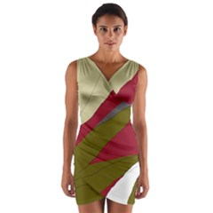 Decoratve abstraction Wrap Front Bodycon Dress