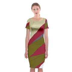 Decoratve Abstraction Classic Short Sleeve Midi Dress