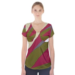 Decoratve Abstraction Short Sleeve Front Detail Top