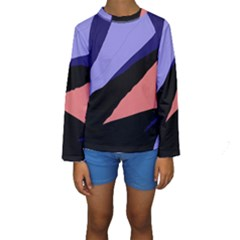 Purple and pink abstraction Kid s Long Sleeve Swimwear