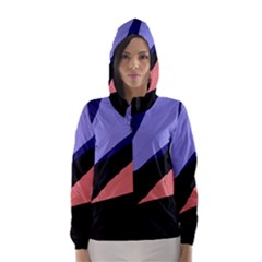Purple and pink abstraction Hooded Wind Breaker (Women)