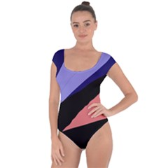 Purple and pink abstraction Short Sleeve Leotard