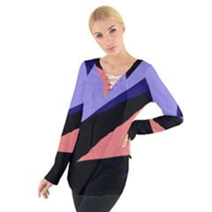 Purple and pink abstraction Women s Tie Up Tee