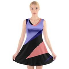 Purple and pink abstraction V-Neck Sleeveless Skater Dress