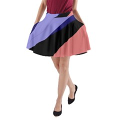 Purple And Pink Abstraction A Line Pocket Skirt