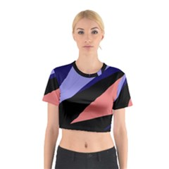 Purple And Pink Abstraction Cotton Crop Top