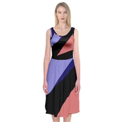Purple and pink abstraction Midi Sleeveless Dress