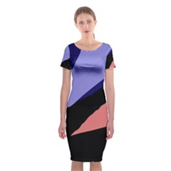 Purple and pink abstraction Classic Short Sleeve Midi Dress