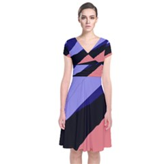 Purple And Pink Abstraction Short Sleeve Front Wrap Dress