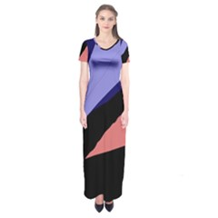 Purple and pink abstraction Short Sleeve Maxi Dress