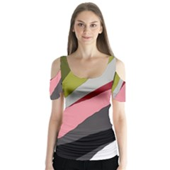 Colorful Abstraction Butterfly Sleeve Cutout Tee