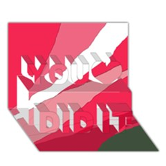 Pink abstraction You Did It 3D Greeting Card (7x5)