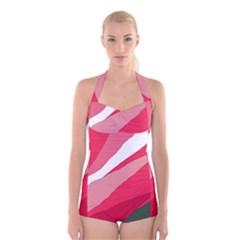 Pink abstraction Boyleg Halter Swimsuit