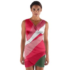 Pink abstraction Wrap Front Bodycon Dress