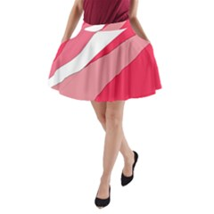Pink abstraction A-Line Pocket Skirt