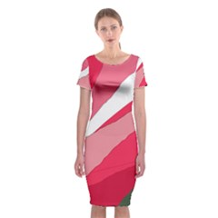 Pink abstraction Classic Short Sleeve Midi Dress