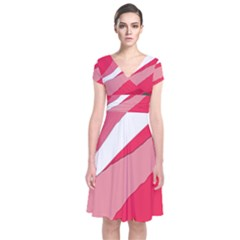 Pink Abstraction Short Sleeve Front Wrap Dress