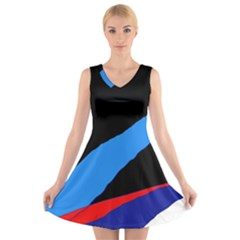 Colorful abstraction V-Neck Sleeveless Skater Dress