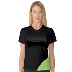 Green ball Women s V-Neck Sport Mesh Tee