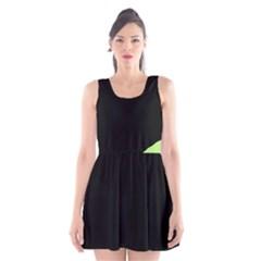 Green ball Scoop Neck Skater Dress