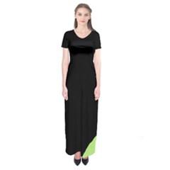 Green ball Short Sleeve Maxi Dress