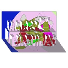 Flora abstraction Happy Birthday 3D Greeting Card (8x4)
