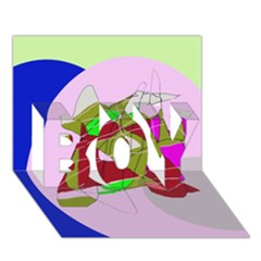 Flora abstraction BOY 3D Greeting Card (7x5)