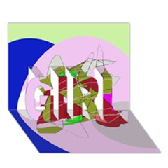 Flora abstraction GIRL 3D Greeting Card (7x5)