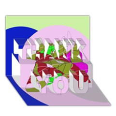 Flora abstraction THANK YOU 3D Greeting Card (7x5)