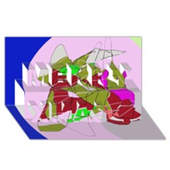 Flora abstraction Merry Xmas 3D Greeting Card (8x4)