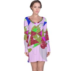 Flora abstraction Long Sleeve Nightdress