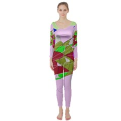 Flora abstraction Long Sleeve Catsuit