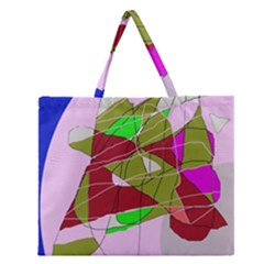 Flora Abstraction Zipper Large Tote Bag