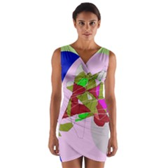 Flora abstraction Wrap Front Bodycon Dress