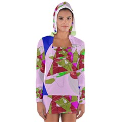 Flora abstraction Women s Long Sleeve Hooded T-shirt