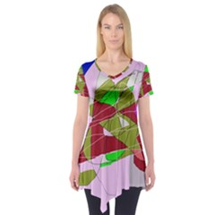 Flora abstraction Short Sleeve Tunic