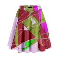 Flora abstraction High Waist Skirt