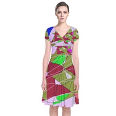 Flora Abstraction Short Sleeve Front Wrap Dress