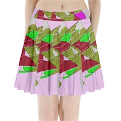 Flora Abstraction Pleated Mini Mesh Skirt(p209)